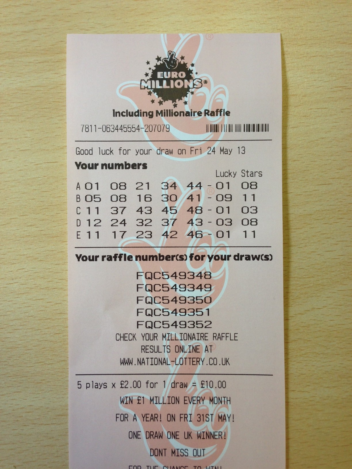 Euro Millions Friday's Draw – 24.05.13.