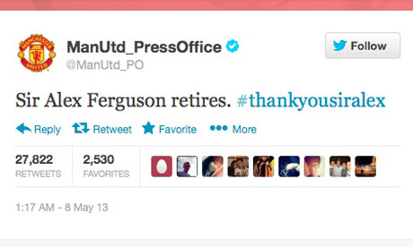 Sir Alex's retirement a big hitter on Twitter